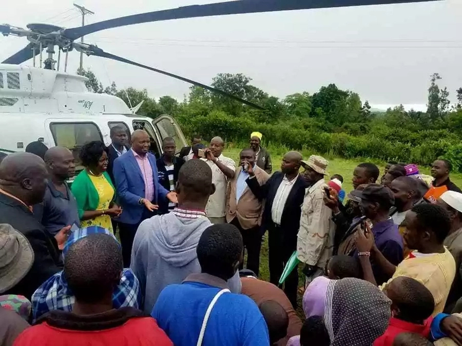 Gatundu South MP Moses Kuria receives warm reception after landing in Nyanza