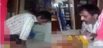 Vile video of how a son is trying to choke his own mother to death