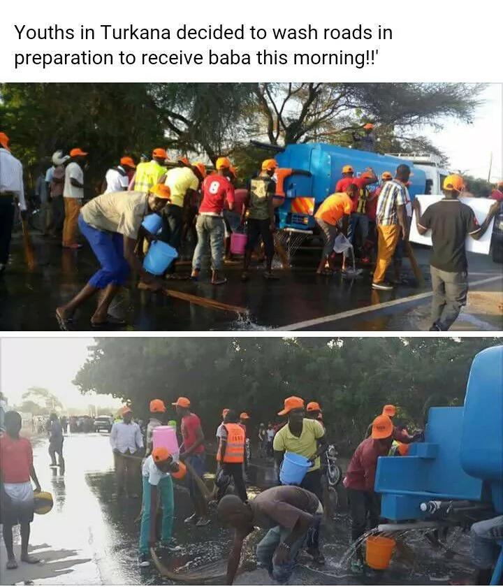Turkana youth wash streets ahead of Raila Odinga's visit