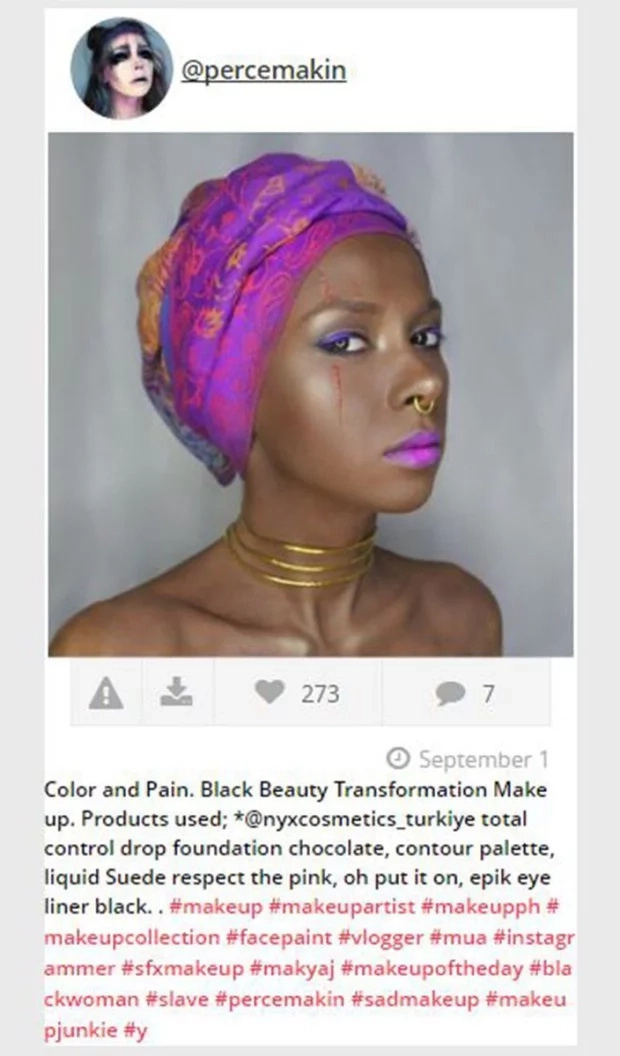 Artist receives thorough beating on Instagram after posting blackface makeup depicting slavery