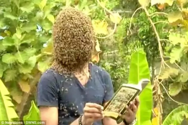 Nature claimed to be able to perform tasks such as reading with the bees stuck to his face