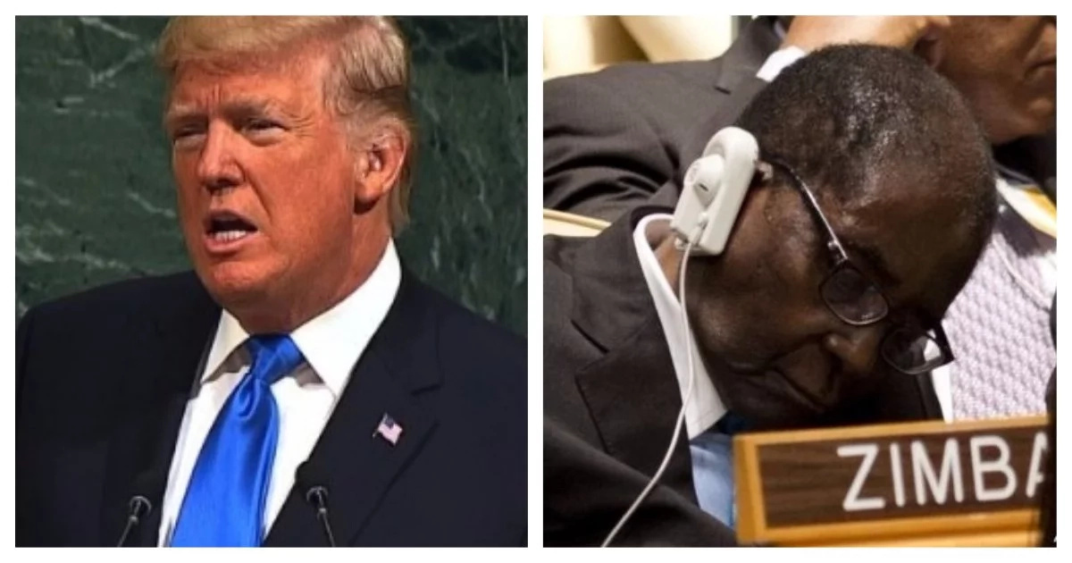 Trump speech apparently puts Mugabe to sleep (photo)