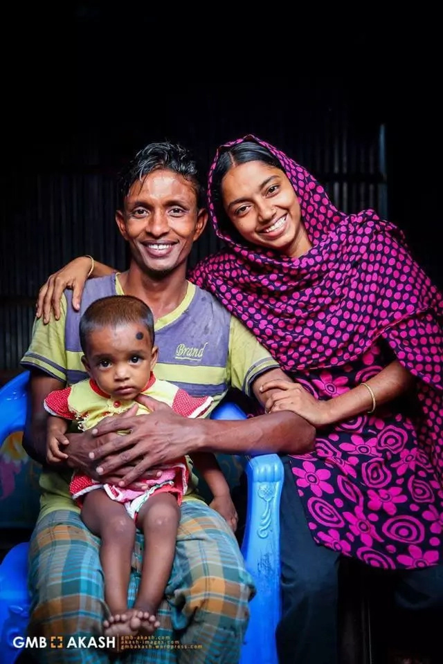The adorable couple with their daughter. Photo: Facebook/GMB Akash