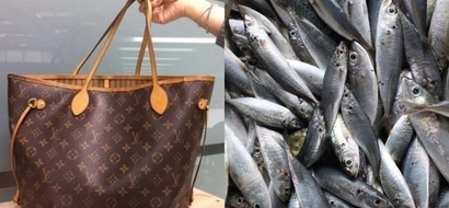 No way! Clueless grandma goes to market and carries fresh fish inside her new luxurious $1110 Louis Vuitton handbag