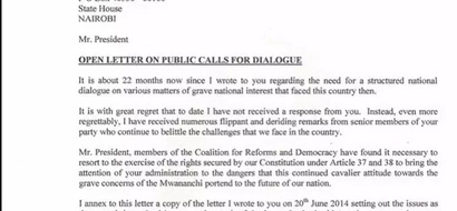 Raila Odinga makes public his letter to Uhuru; read it here