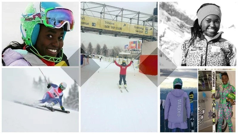 Meet Kenyan girl who is skiing and SHINING abroad without her mother country's support (photos, video)