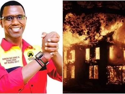 Jubilee politician's house burnt down by unknown people