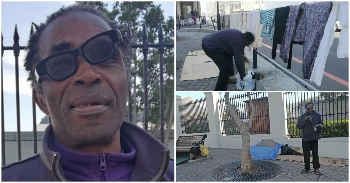 Homeless man hangs his laundry in front of parliament (photos)