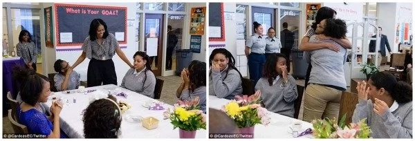 Michelle Obama SURPRISES students with visit to mark International Women's Day (photos)