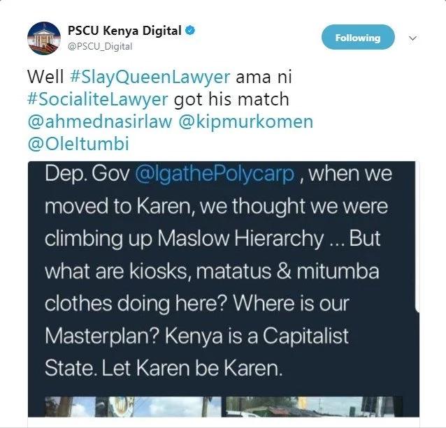 Ikulu yamwomba radhi wakili mashuhuri jijini kutokana na kipachiko cha Twitter kilichomkera