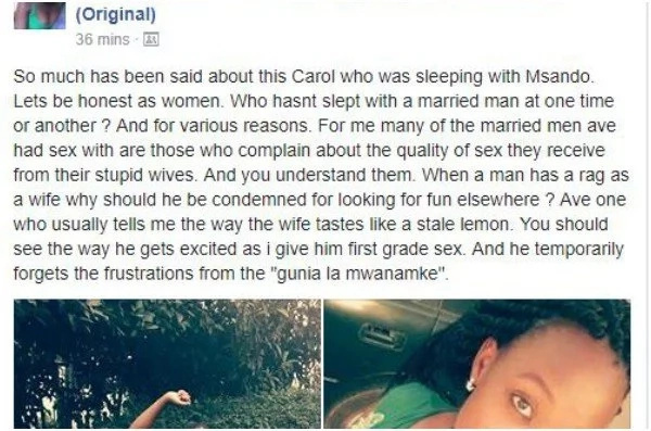 Confession: Every Kenyan girl has slept with a married woman