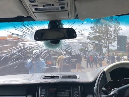 Raila Odinga's car hit by a tear gas cannister