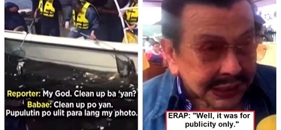 Mayor Estrada 'cleaned up' trash in Manila Bay! But a Kapamilya reporter found out that it was Erap's people who threw the trash there for a photo op!