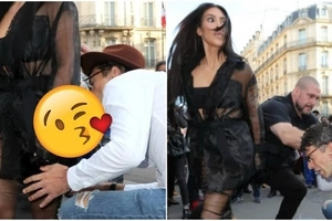 Ukrainian reporter tried to kiss Kim Kardashian's ass in public