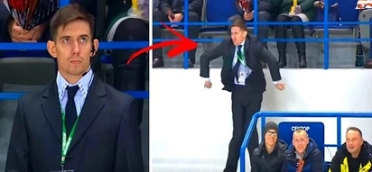 Hockey team calls timeout during an intense game. Security officer lightens up the mood by showing off his epic dance moves!