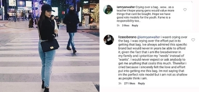 Liza Soberano fearlessly defends herself against basher who accused her of being materialistic