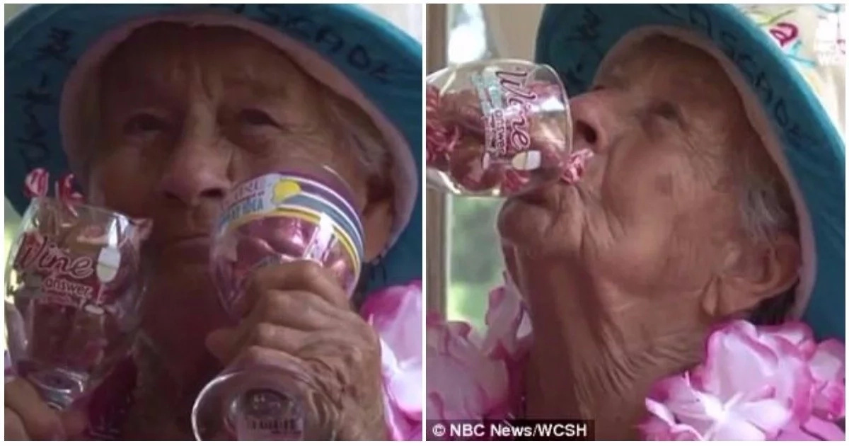 She said wine is her secret to long life. Photos: NBC News