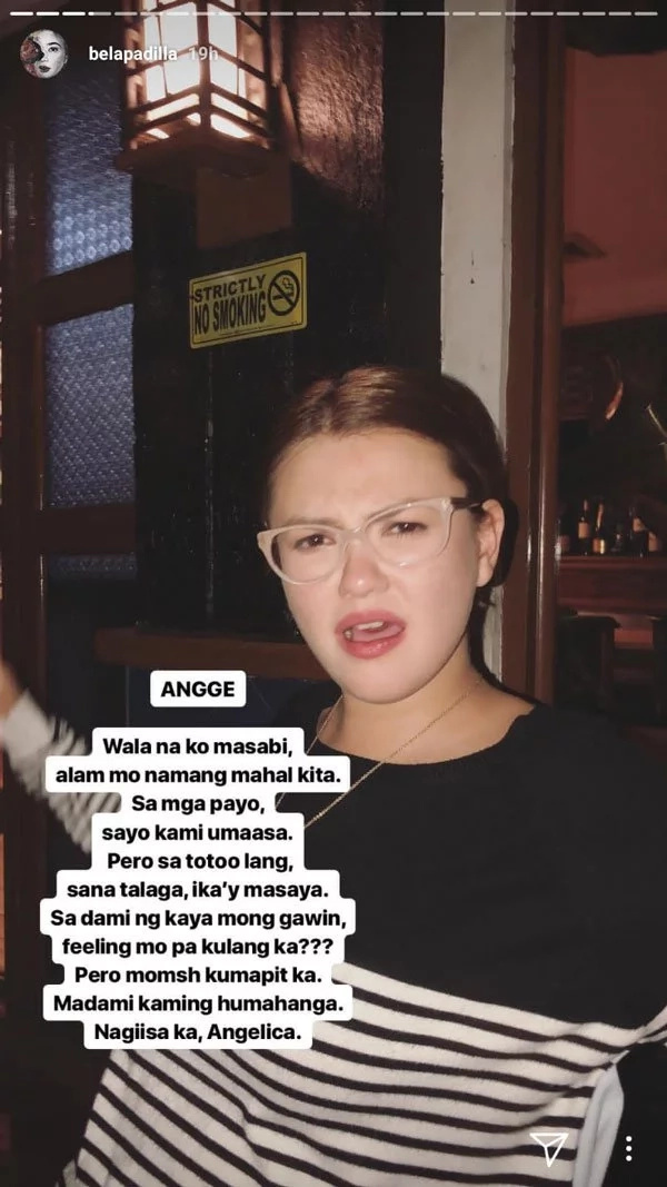 Bela Padilla tells her friend Angge to simply hang on