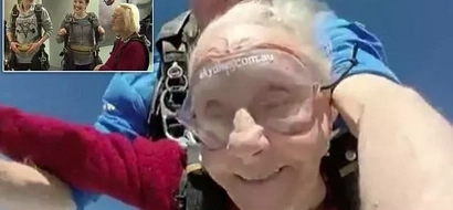 Great-grandmother jumps off PLANE with her 2 granddaughters to celebrate her 90th birthday in HEAVEN (photos)