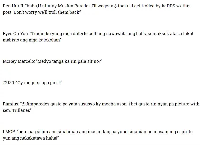 Jim Paredes reacts to Sara Duterte's tirades against Senator Trillanes