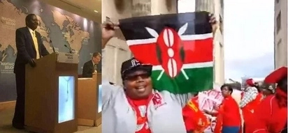 Uhuru supporters in London camp outside Chatham House where Raila gave a lecture