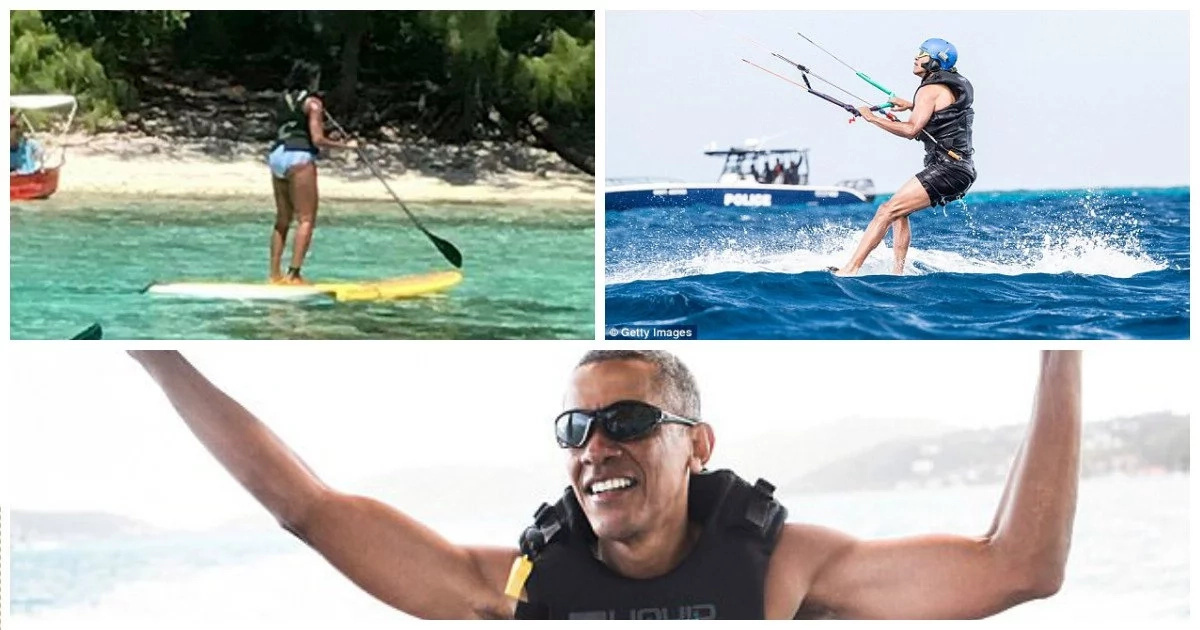 Holiday mode! Barack and Michelle Obama pictured swimming on EXOTIC island (photos, video)