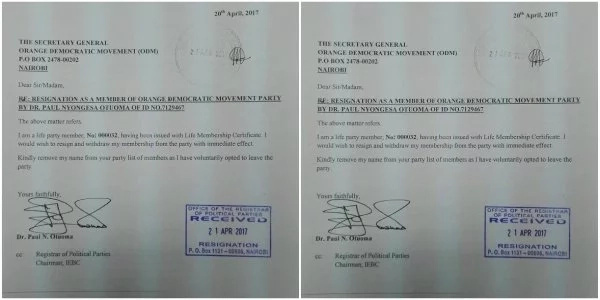 Paul Otuma FINALLY resigns from ODM after botched gubernatorial primaries