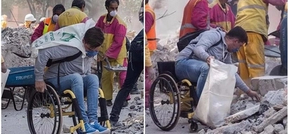 Moving! Wheelchair-bound man, 26, joins in clean-up process after earthquake in Mexico