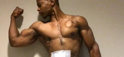 This bodybuilder carries his own heart in a backpack and keeps on working out!