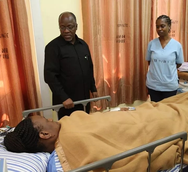 President John Pombe Magufuli visits his wife Janet in Hospital