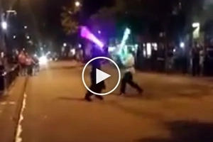 This night lightsaber duel in the street looks really awesome! The video goes viral