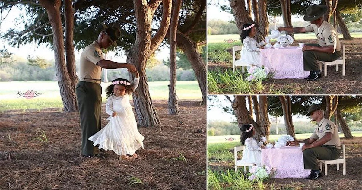 See heartwarming moment military dad joins his daughter, 4, for a surprise tea party (photos)