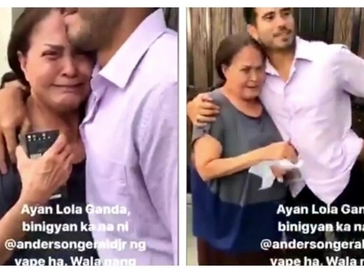 Mabait talaga si Gerald! Gina Pareño cries as she receives a gift from co-star Gerald Anderson