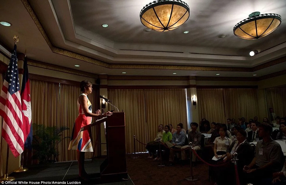 Michelle Obama pictured addressing Peace Corps volunteers. Photo: Amanda Lucidon
