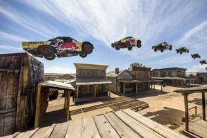 This race truck set an incredible world record by jumping over a ghost town!