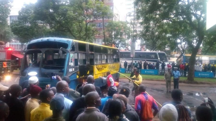 Several injured after City Shuttle overturns in Nairobi's CBD