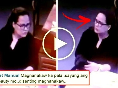 This 'conyo' Pinay was caught on CCTV stealing a bag from a customer at Max's Restaurant in SM Sta. Mesa. Watch her shocking modus!