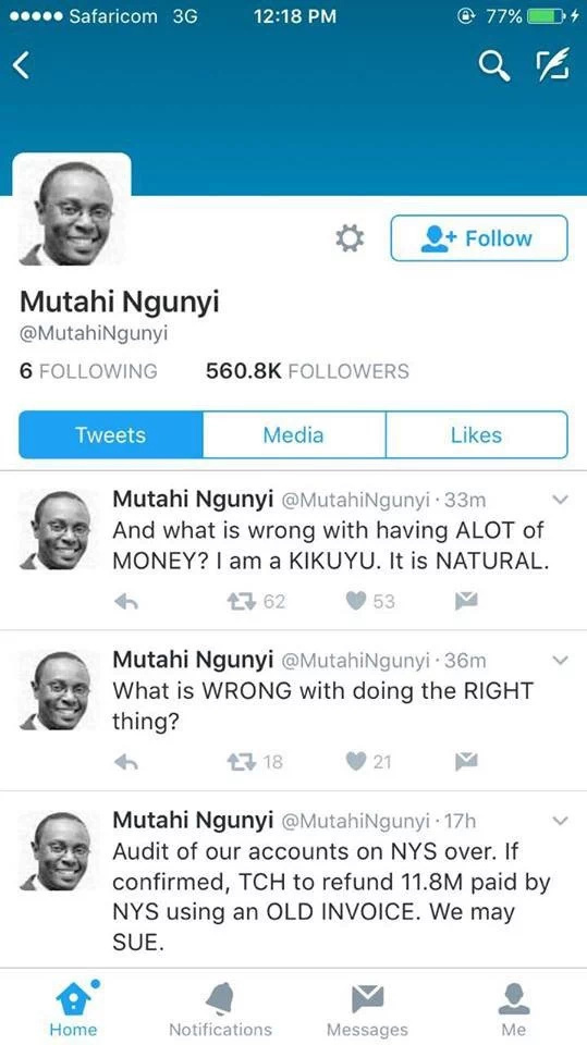 Mutahi Ngunyi agree to refund to government KSh11 million NYS money