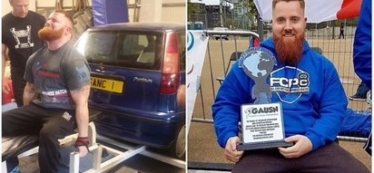 World's strongest disabled man lifts car and pulls lorry using just his hands