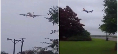 Close shave! Dramatic footage shows plane battling strong crosswinds and failing to land