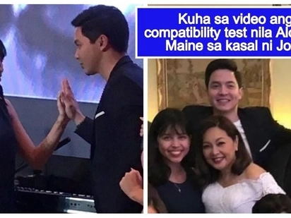 Bagay ba sila o awkward? Maine Mendoza & Alden Richards take compatibility test at Joey de Leon's wedding