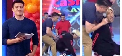 Aray ko po! Luis Manzano accidentally pushed Vice Ganda to the ground while playing Cash-Ya on 'It's Showtime'