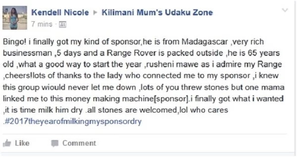 Kenyan lady shocks many after bragging how he has finally found a rich old man