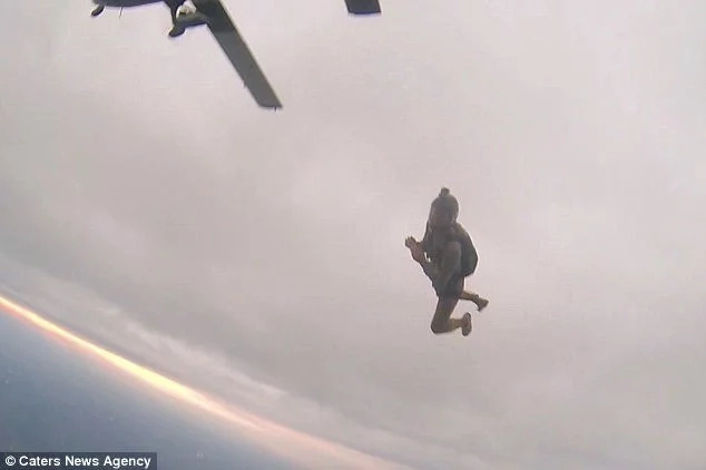 Terrifying moment man kicks friend out of plane while skydiving together, laughs all the way down