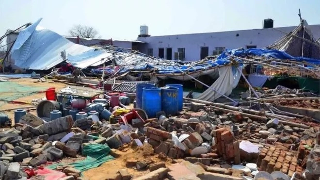26 died after a Marriage Hall wall Collapsed