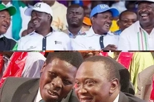 Uhuru, Ruto keenly watching on TV the unveiling of Raila as NASA flag-bearer? (photos)