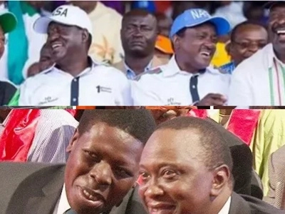 Photos of Uhuru, Ruto following proceedings on TV as Raila is named NASA flag bearer