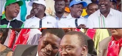 Uhuru, Ruto keenly watching on TV the unveiling of Raila as NASA flag-bearer? (photos)