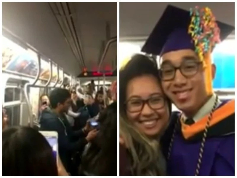 Student graduates on subway after 2 hour delay that made him miss main event (photos)