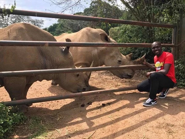 Larry Madowo plays around with two cheetahs